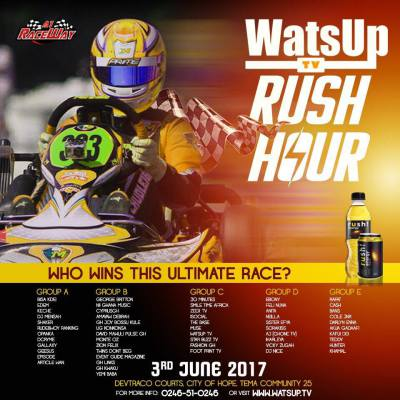 Bisa Kdei, Ebony, Bossu Kule, DJ Mensah, Sista Afia, Others for WatsUpTVRushHour Celebrity Car Race